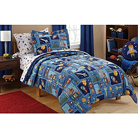 Mainstays Kids Space Bed in a Bag Bedding Set, TWIN (Rocket Twin Bedding)