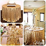 TRLYC 120Inch Round Gold Sequin Table Cloth for Thanksgiving Day Christmas