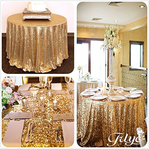 TRLYC 120Inch Round Gold Sequin Table Cloth for Thanksgiving Day -