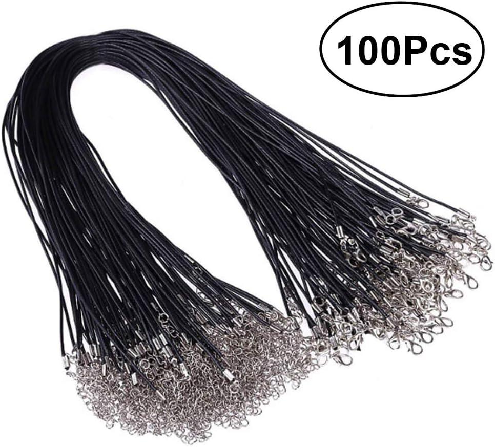 ULTNICE 100PCS encerado cadena de la cera del cordón del collar con el corchete para la joyería que hace 2.0m m negro