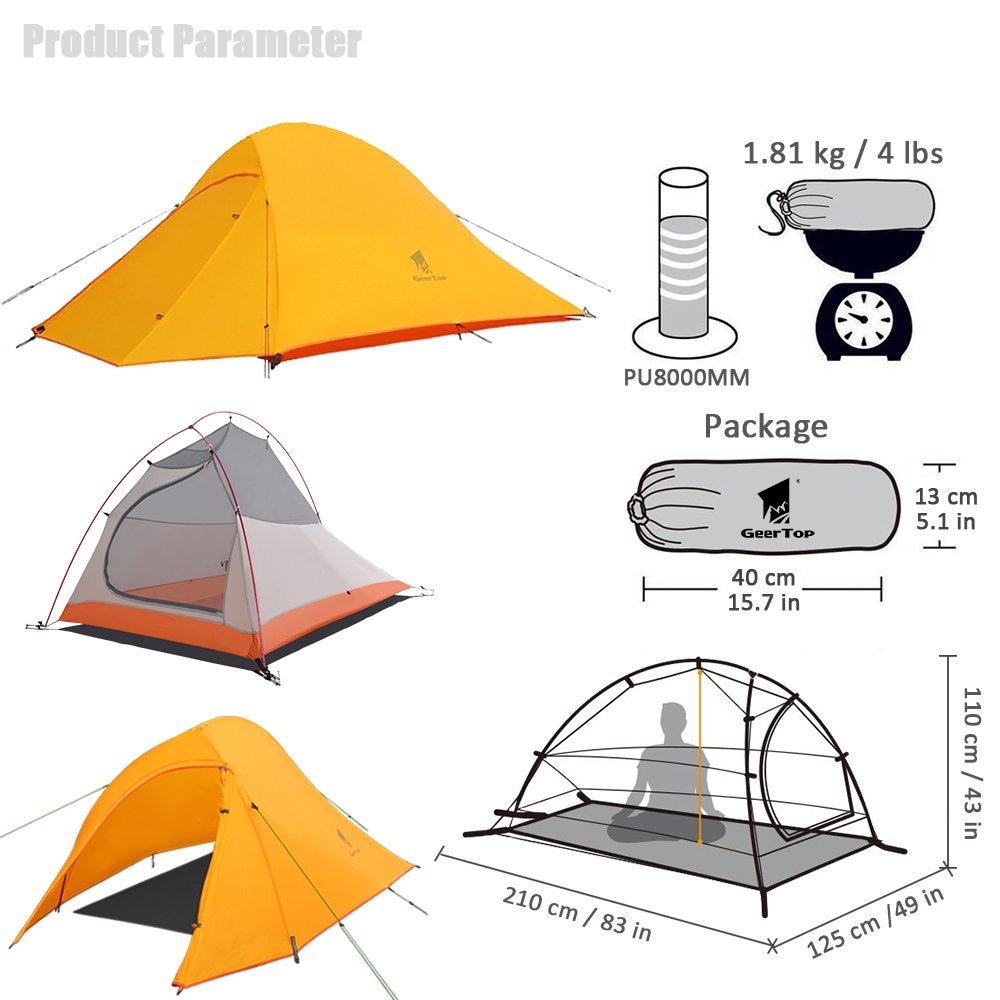 GEERTOP Tienda iglú de Campaña Impermeable 20D Ultra Ligera - UV Resistente - 2 Personas 3 a 4 Estaciones - 125 x 210 x 100 cm (1,81kg) - para Acampar ...