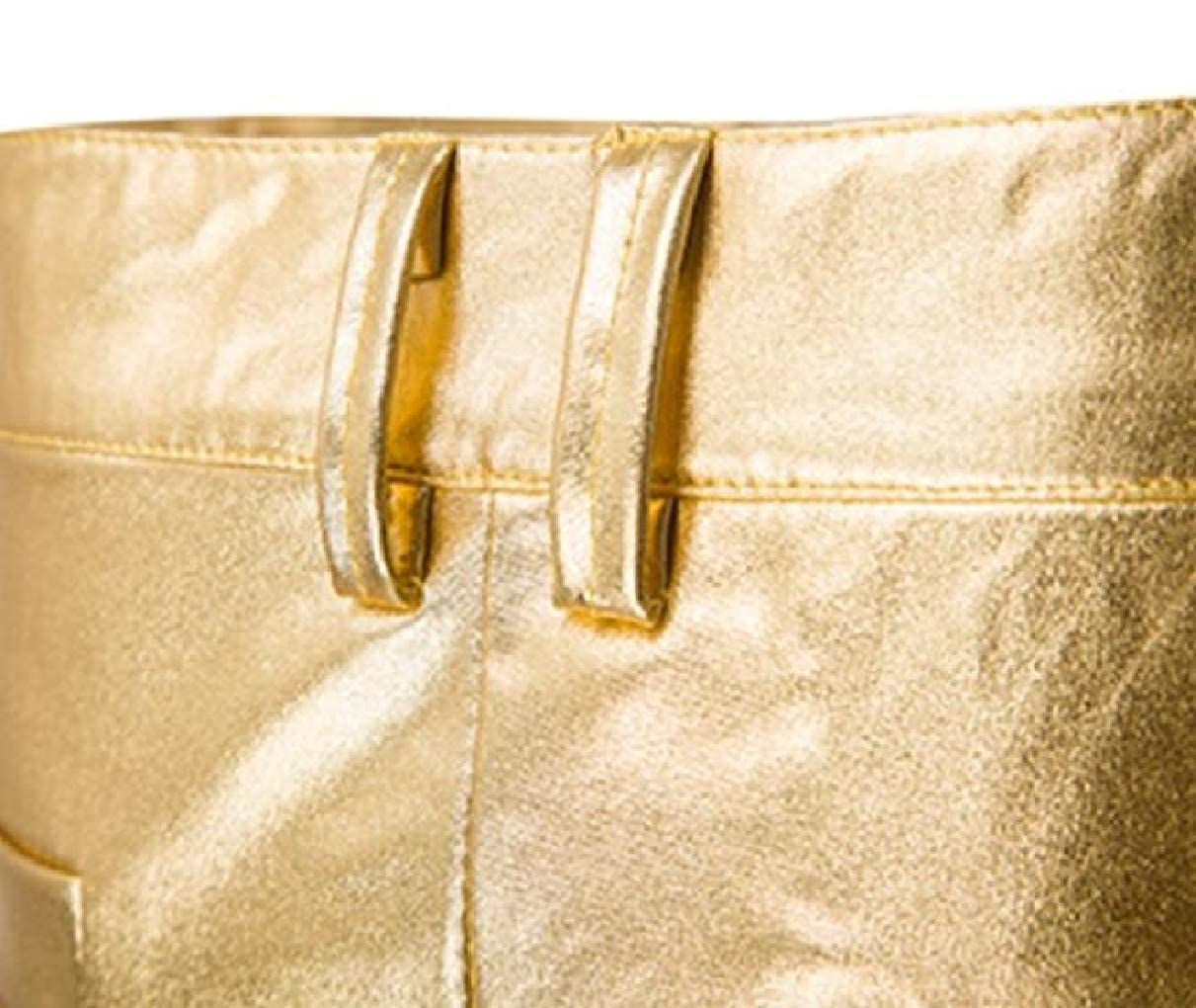 YIhujiuben Men Casual Golden Individuality Nightclub Metallic Casual Trousers