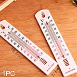 Wall Thermometer, Indoor White Stick-On measure room temperature Thermometer - Home Office Room(19.5cm3.5cm,as the picture)