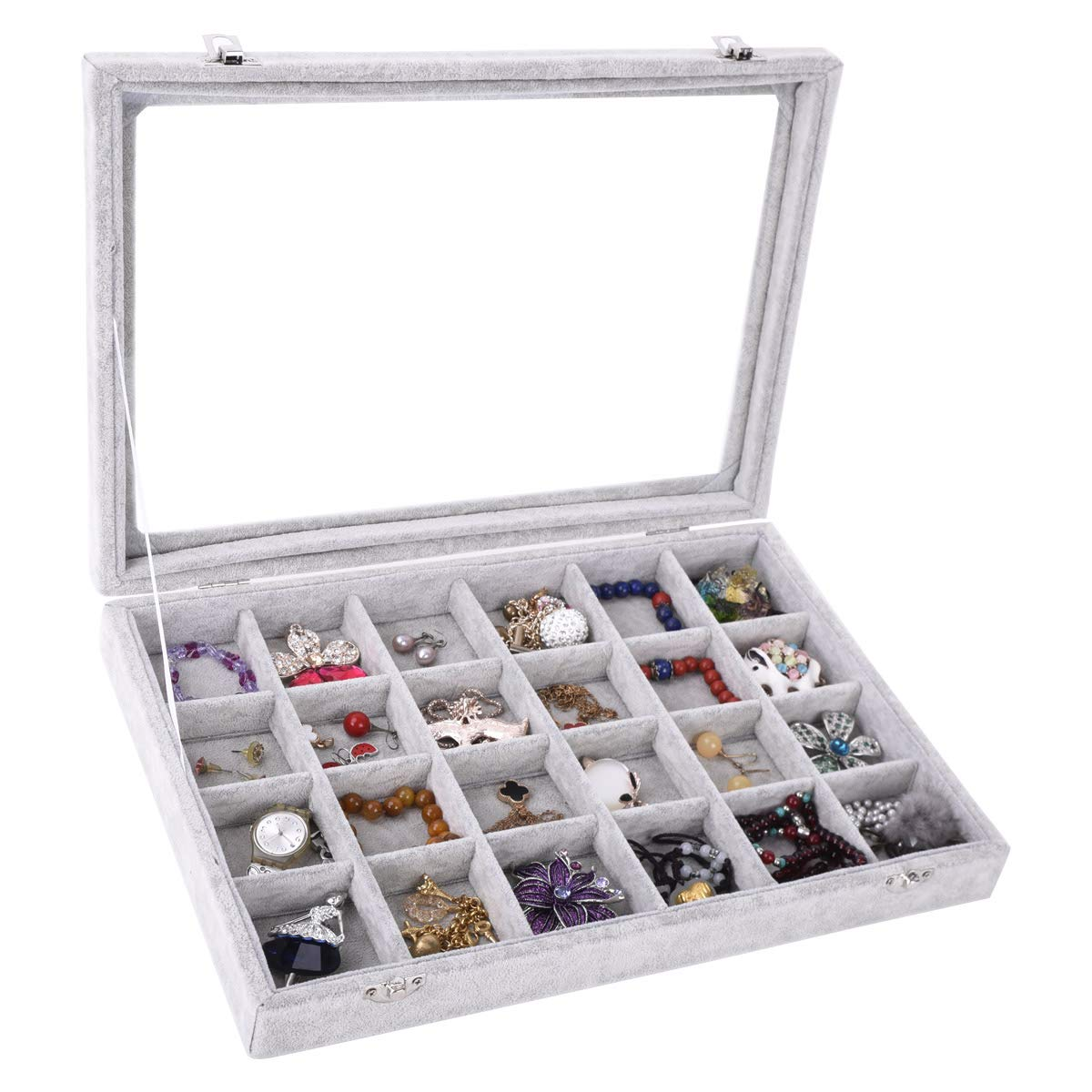Autoark Ice Velvet Clear Lid 7 Slots Jewelry Rings Earrings Tray Showcase Display Organizer,AJ-023