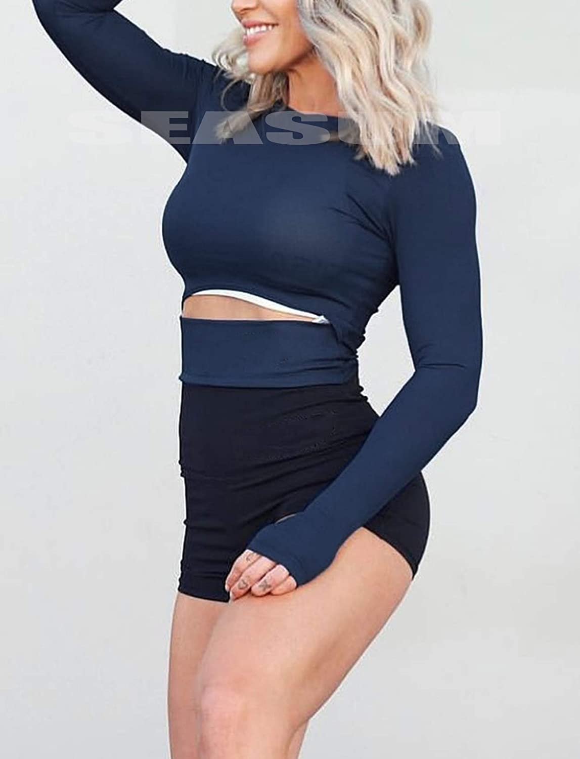 Womens Yoga Gym Crop Top Compression Workout Athletic Long Sleeve Shirt