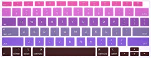 WYGCH 2020 MacBook Air 13 inch Keyboard Cover A2179 Silicone Protective Skin Keyboard Protector for MacBook Air 13-inch with Touch ID US Layout (NOT FIT for 2018-2019 Version),Rainbow Dark Purple