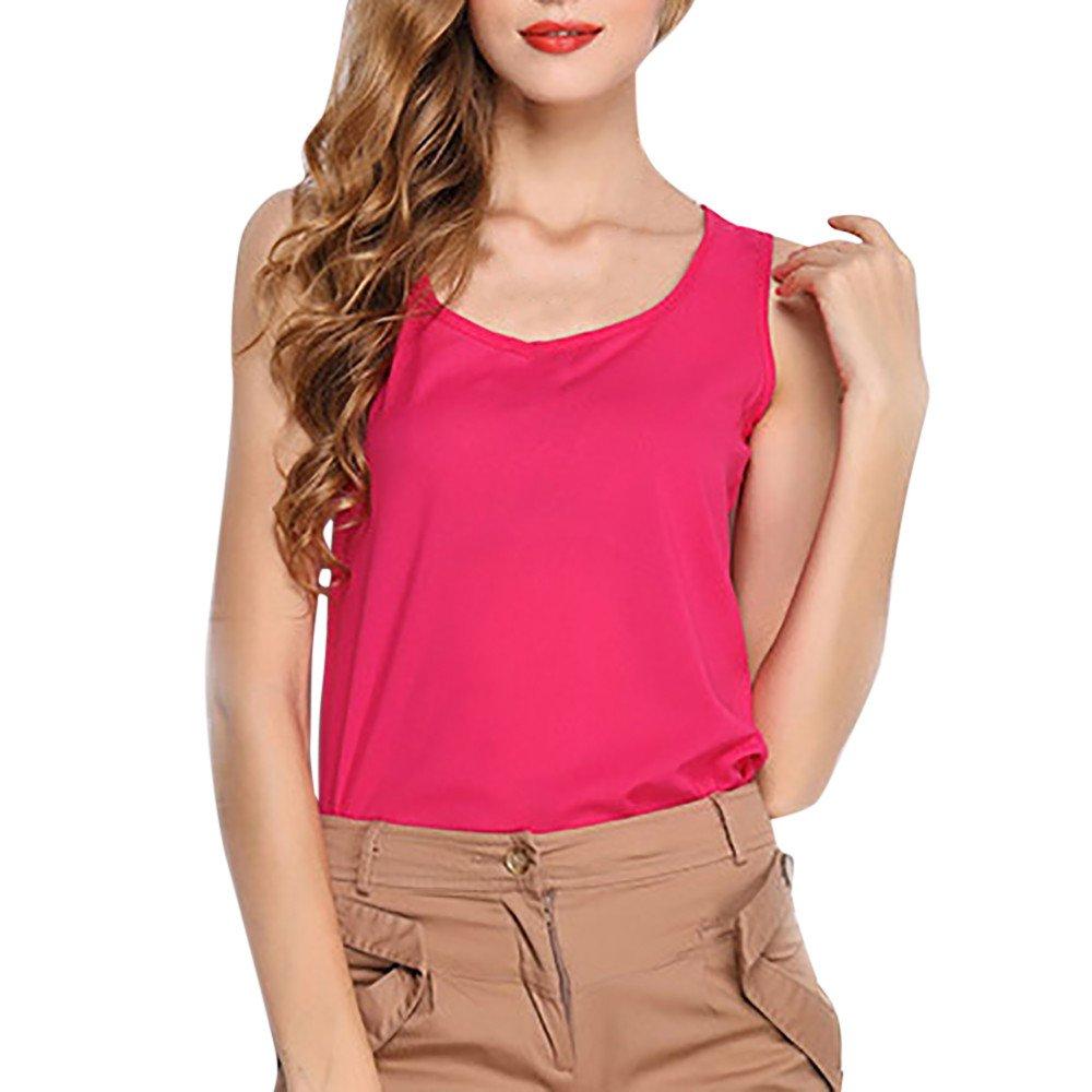 JFLYOU Basic Tank Top for Women,Loose Chiffon Sleeveless O Neck Solid Shirt Tops(Hot Pink,L)