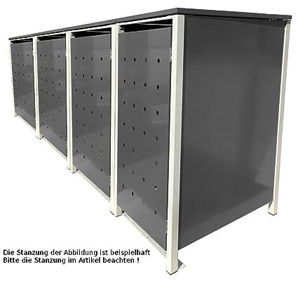 Mülltonnenboxen für 4 Tonnen je 120 Liter Klappdeckel Komplett Grau Stanzung 2