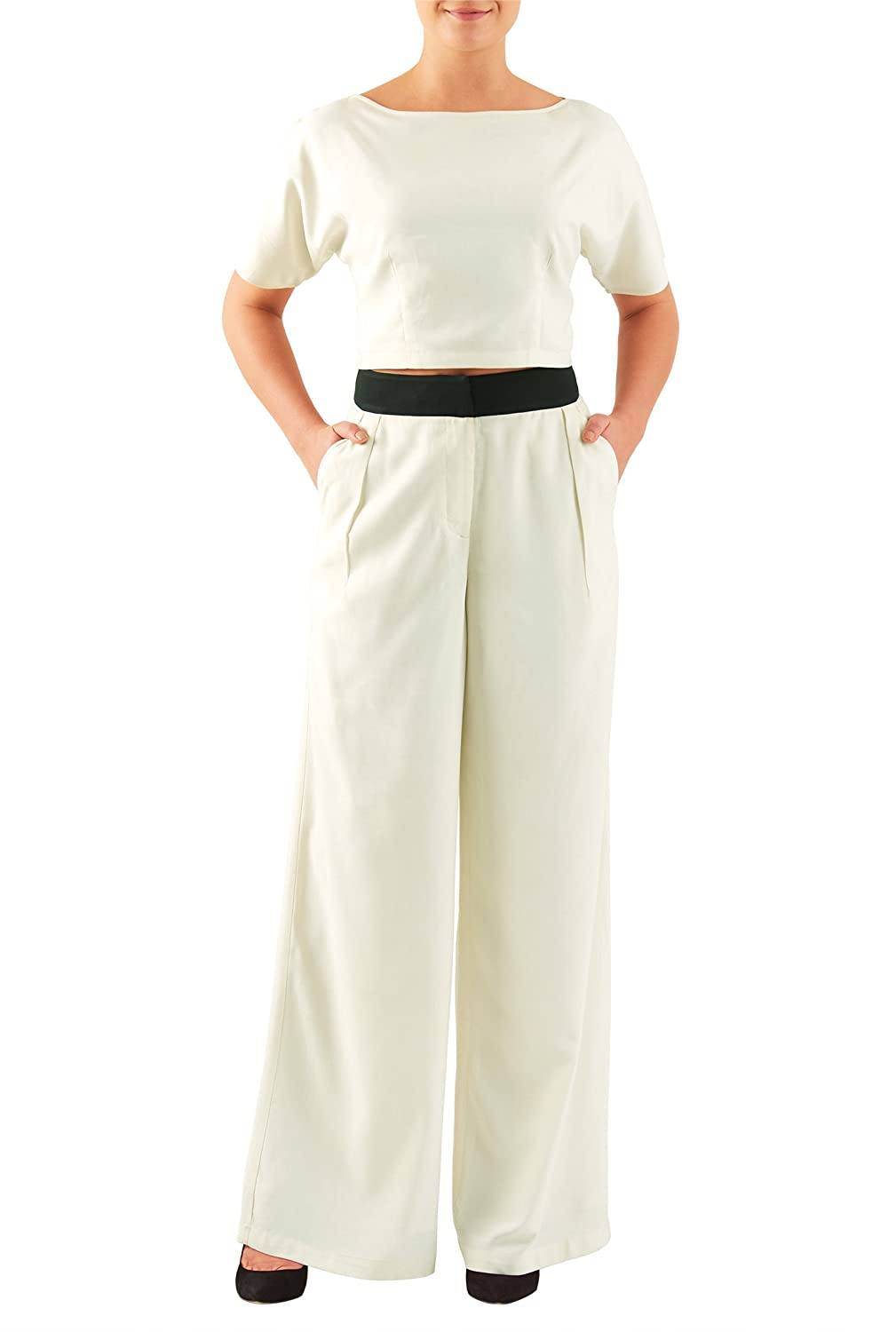 1930s Women's Pants and Beach Pajamas Sandwash silk palazzo pants and top set $99.95 AT vintagedancer.com