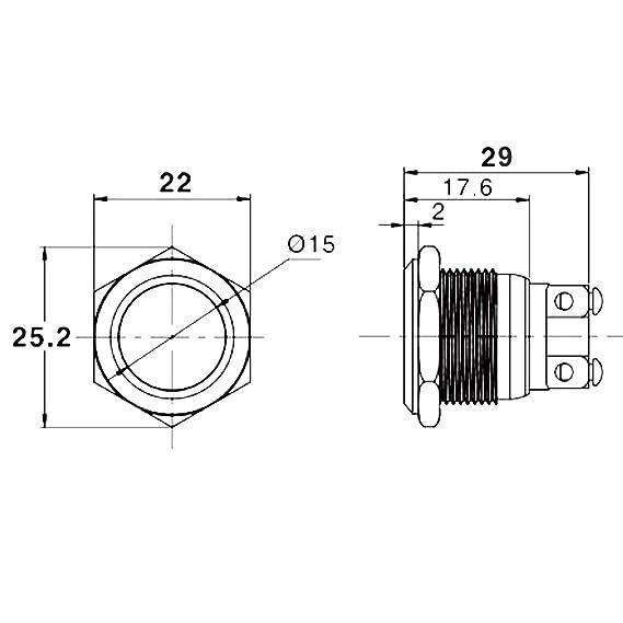 Drucktaster Klingeltaster IP67 LED-Taster Einbau 19mm Edelstahl V2A ...