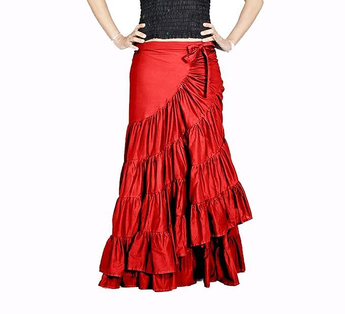 Anoushka Flamenca Maxi, Falda para Mujer, Rojo One Size (Tamaño ...
