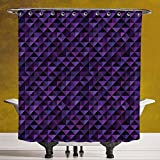 Polyester Shower Curtain 3.0 [Geometric,Twentieth Century Style Expressionist Art Vibrant Colored Squares and Triangles,Purple Black] Digital Printing Polyester Antique Theme with Adjustable Hook