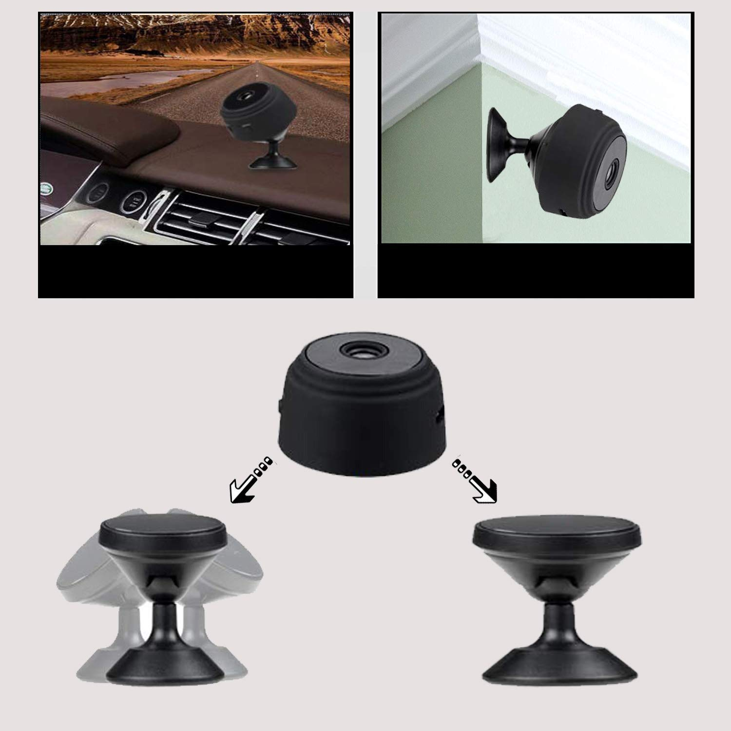 Versatile Dash Cam Wifi with Battery Rear View Camera 1080P with Magnet 150 View Angle SD Card Recording Motion Detection/Night Vision For Smart Phone/Pad/PC Mini Hidden Camera Baby Monitor Dog Camera