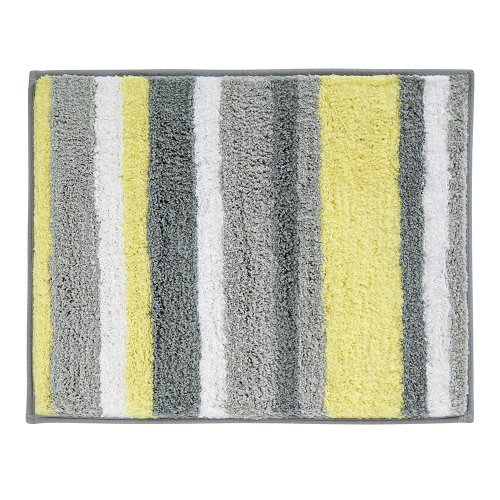 - InterDesign Stripz Microfiber Polyester Bath Mat, Non-Slip Shower Accent Rug for Master, Guest, and Kids' Bathroom, Entryway, 21