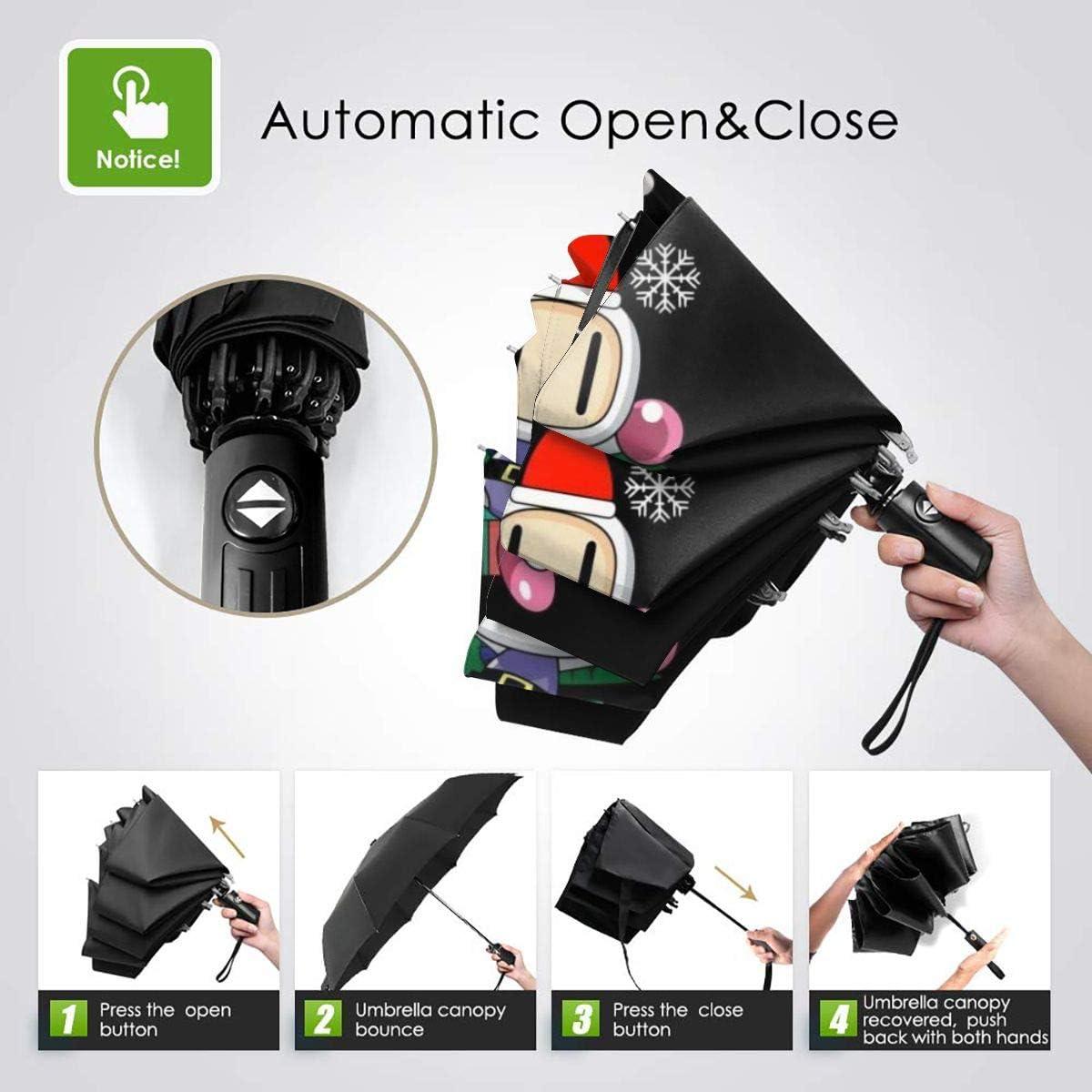 Bomberman Around The Christmas Tree Windproof Compact Auto Open And Close Folding Umbrella,Automatic Foldable Travel Parasol Umbrella