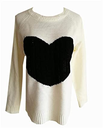 e232211b3e2 UUYUK Women Cable Heart Long Sleeve Color Block Pullover Crew Neck Knit  Sweater Tops Creamy White