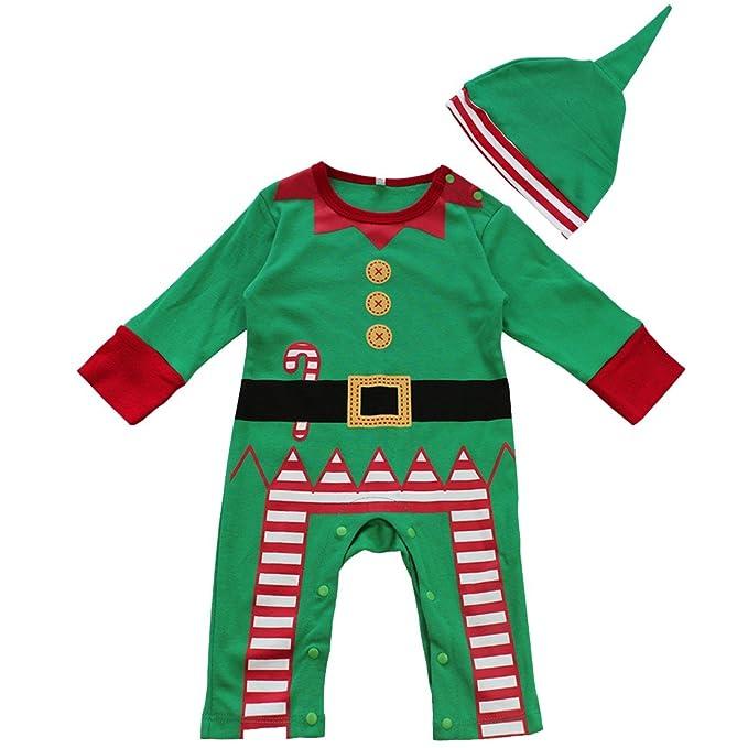Freebily Disfraz de Papá Noel para Bebé Niña Niño Unisex Pelele Body Mono de Navidad Fiesta Bautizo con Gorro para Recién Nacido Verde 12-18 Meses: ...
