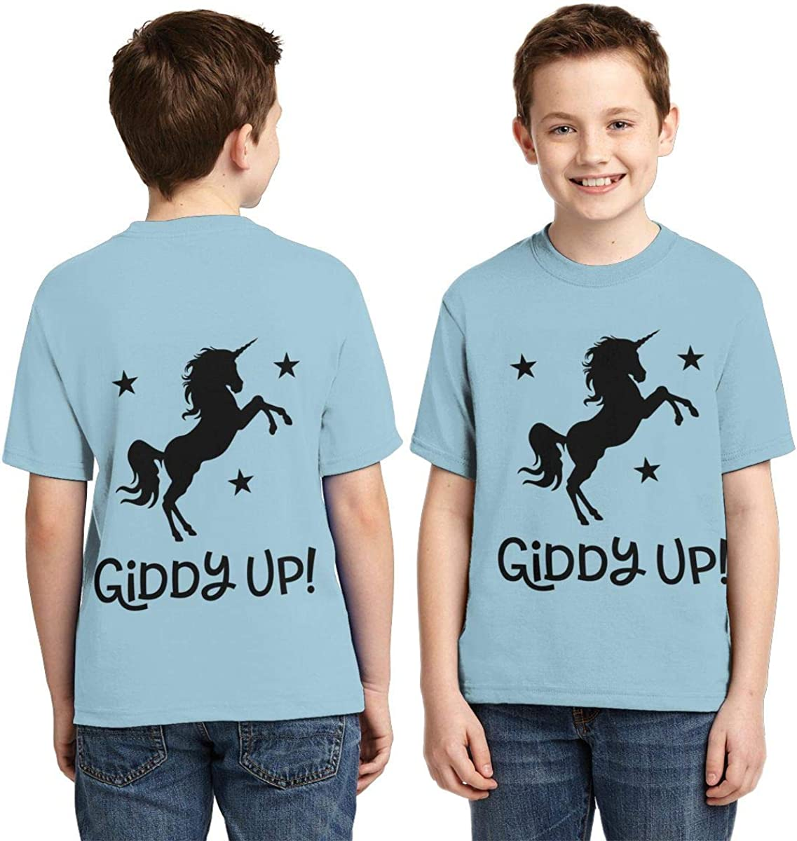Youth T-Shirts Giddy Up Unicorn Full Printed Short Sleeve Crew Neck Tees Summer Tops for Boys