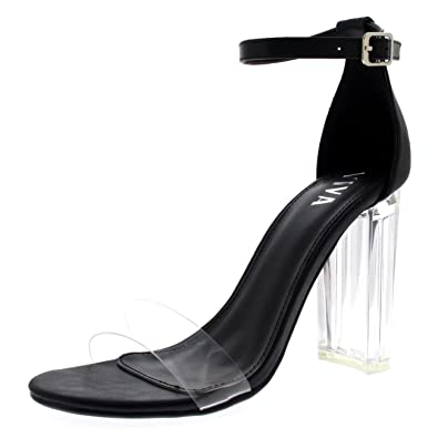6c4bbe82556 Viva Womens Glass Heel Ankle Strap High Heels Shoes Evening Party Sandals   Amazon.co.uk  Shoes   Bags