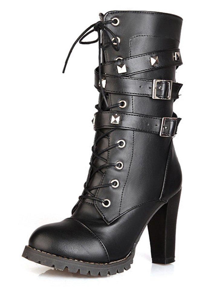 SHOWHOW Damen Modern Nieten Biker Boots Stiefel mit Absatz Stiefelette Braun 47 EU iSly8jp