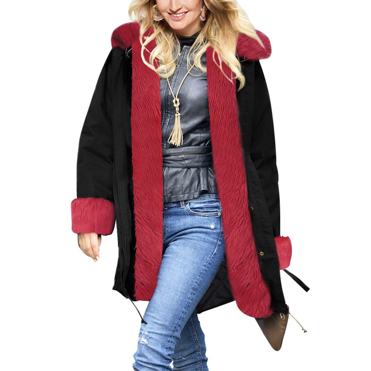 Black2 Womens Winter Warm Thicken Long Sleeve Faux Fur Collar Hooded Parka Jacket Coat