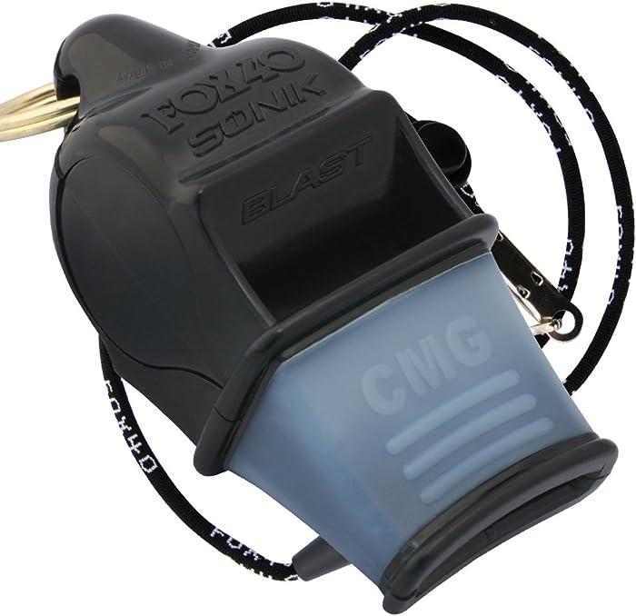 Fox 40 Sonik Blast CMG Official Whistle with Break Away Lanyard (Black)