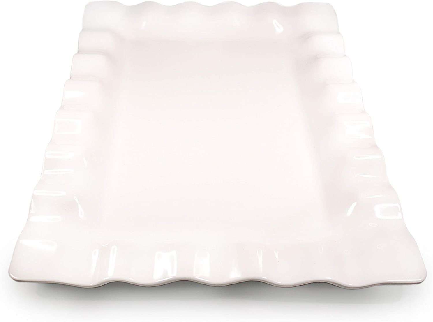 "White Melamine Scalloped Serving Platter - Beautiful but Safe Turkey Platter Serving Tray - White Rectangle Platter - Shatterproof and Safe for Dishwasher and Microwave - 19"" x 14 1/4"""