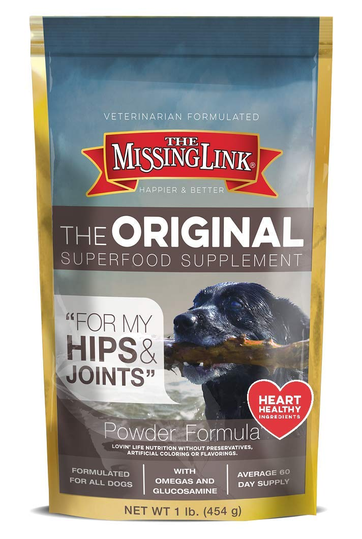 The Missing Link Original All Natural Superfood Dog Supplement- Balanced Omega 3 & 6 Plus Glucosamine to support Mobility and Digestive Health - Hip & Joint Formula - 1 lb. by The Missing Link
