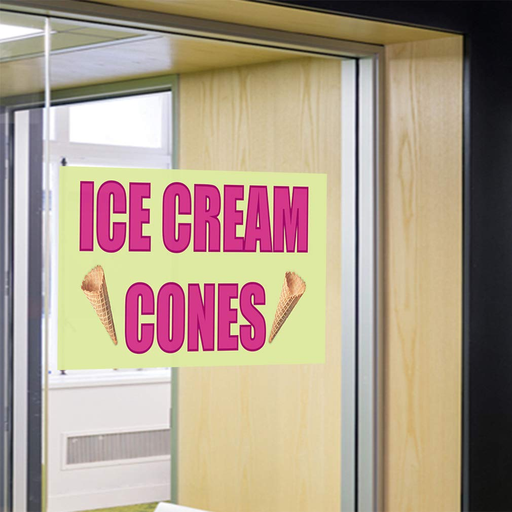 Set of 5 Decal Sticker Multiple Sizes Italian Ice #1 Style B Retail Cold Dessert Outdoor Store Sign Pink 27inx18in