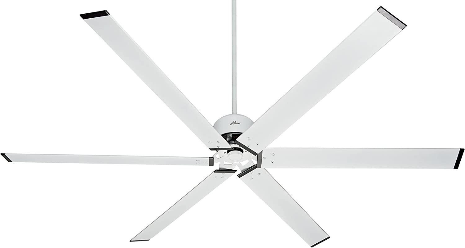 """HUNTER 59132 HFC-96 Industrial Indoor / Outdoor Ceiling Fan with Wall Control, 96"""", Fresh White"""