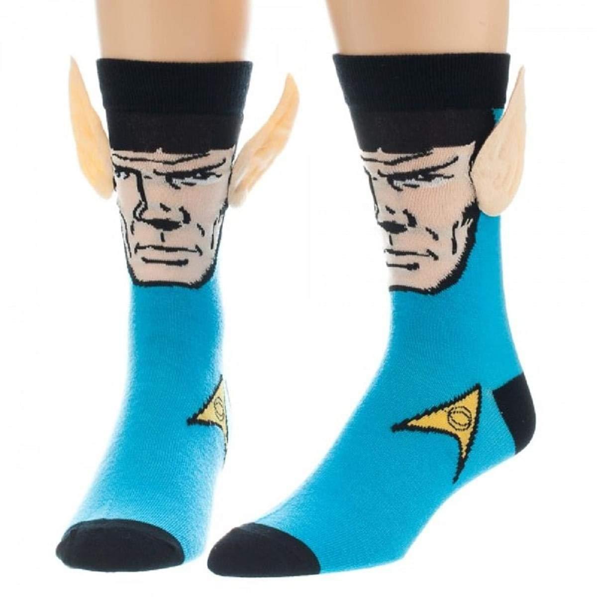 Star Trek Spock with Ears Crew Socks, Blue, Sock Size 10-13, Shoe Size 6-12