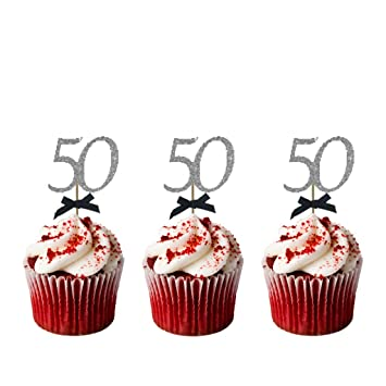 LissieLou 50th Birthday Cupcake Toppers With Bows