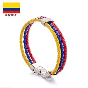 XJYA PU Imitación Cuero Pulsera-Tejer Bandera Color Unisex Pulsera De Cuero Pulsera,Colombia: Amazon.es: Deportes y aire libre