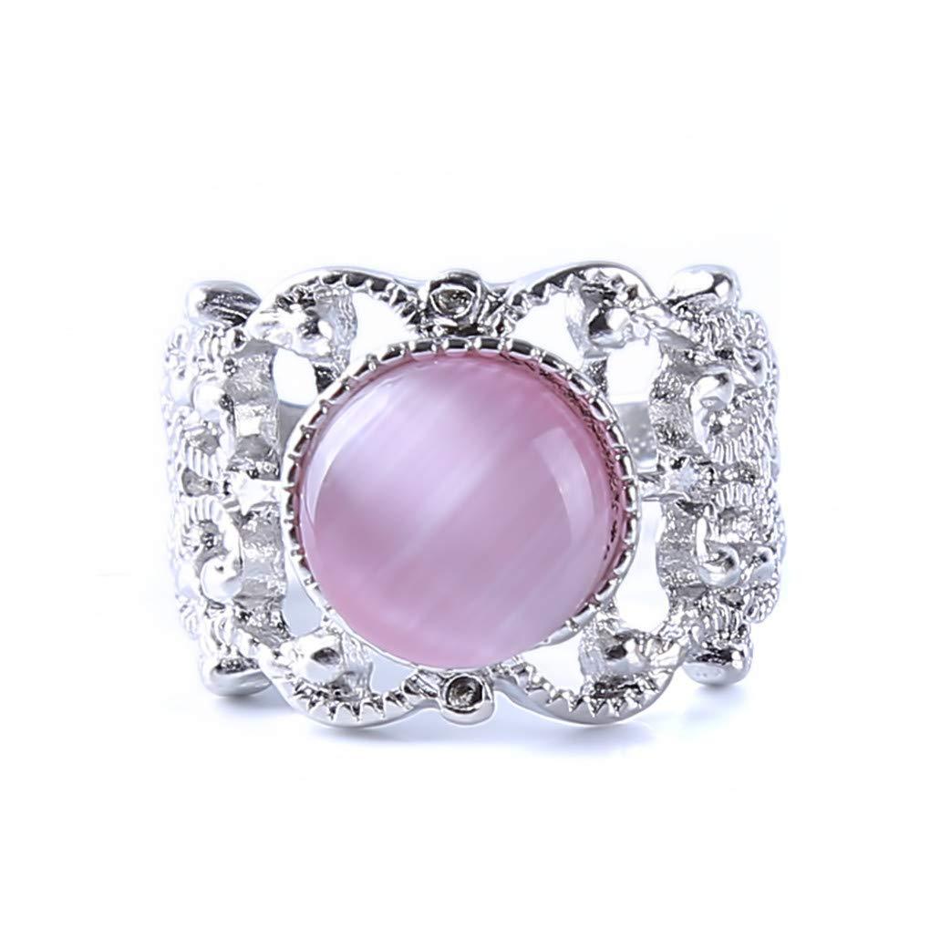 Meolin Women Girls Sparkling Opal Rhinestone Ring Beautifu Floral Rings for Bride Wedding Fine Jewelry Gifts,10#