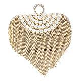 Damara Womens Glitter Rhinestone Tassel Pearl Curve Handbag,Gold