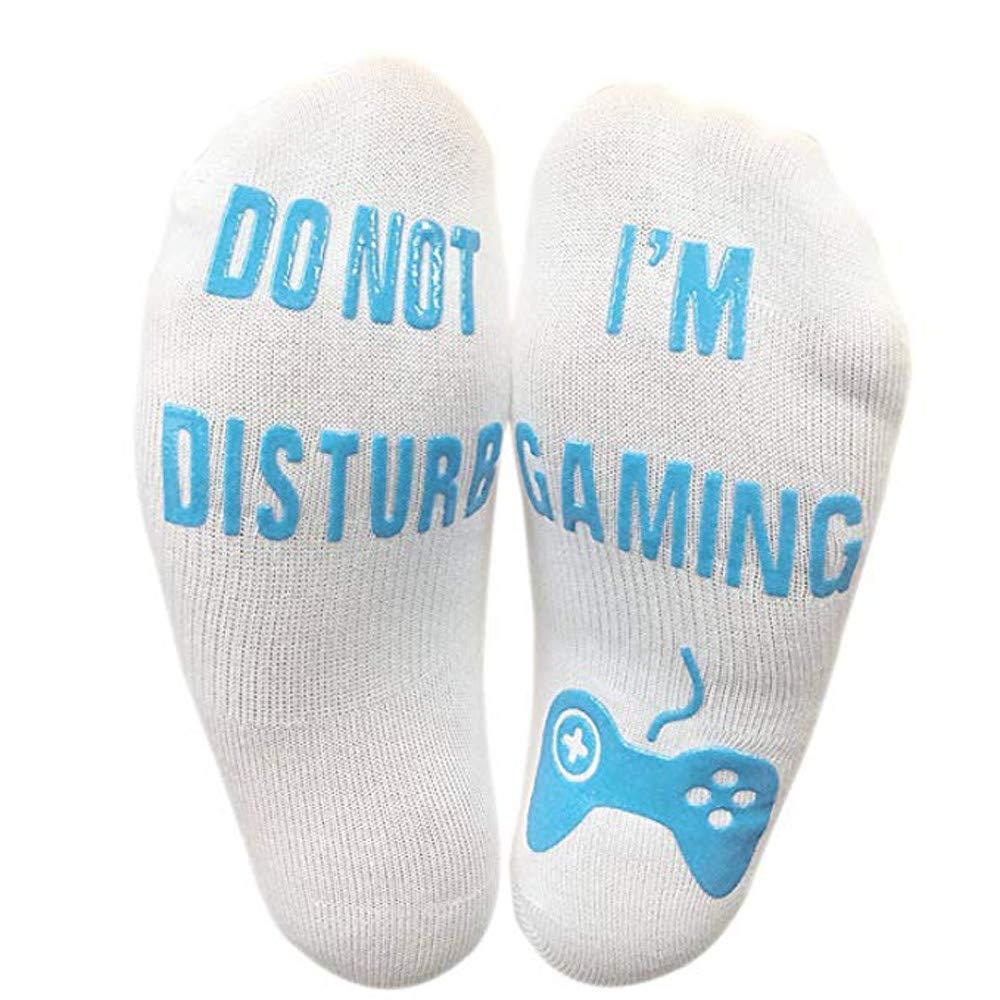 vermers Novelty Socks Unisex 'Do Not Disturb' Great Gamer Gift Letter Print Funny Ankle Socks(Blue)