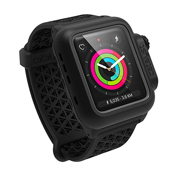 online retailer 3c684 f5c1f Waterproof Case for Apple Watch 42mm Series 2 & 3 with Premium Soft  Silicone Apple Watch Band by Catalyst, Shock Proof Impact Resistant [Rugged  iWatch ...