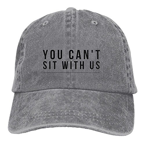 MCWO GRAY You Can't Sit With Us Unisex Denim Baseball Cap Adjustable Strap Low Profile Plain Hats Outdoor Casquette Snapback Hats Ash (Face Chubby Sit)