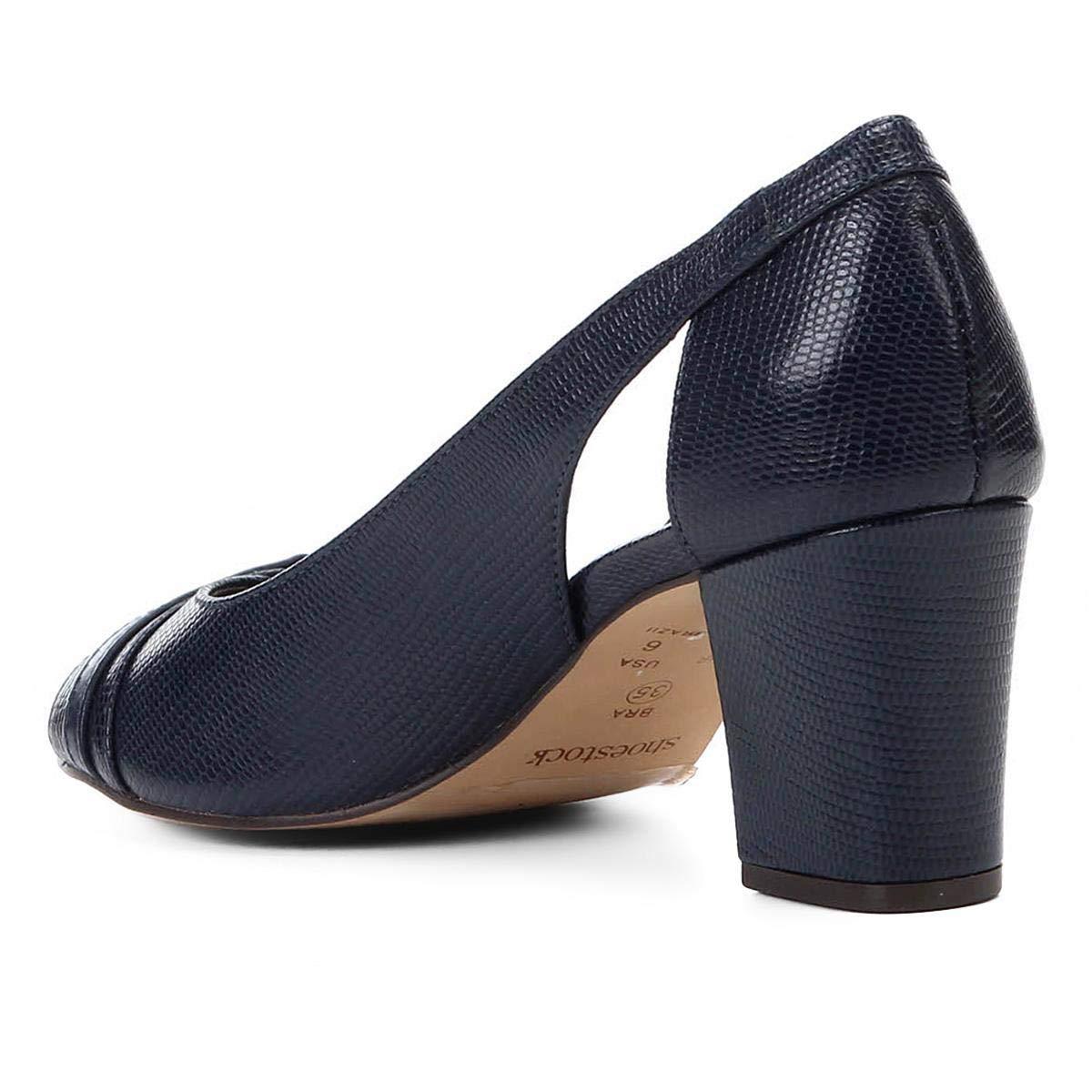 afdd6492ed Peep Toe Shoestock Lezard Metal  Amazon.com.br  Amazon Moda