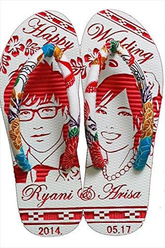 沖縄らしい結婚式ウェルカムボード用紅型似顔絵島ぞうりアート