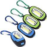 Accmor 4 PCS Pocket Magnetic Flashlight – Small Keychain Super-Bright Led Flashlight, Most Powerful Strobe Flashlight with Carabiner (Green & Blue)
