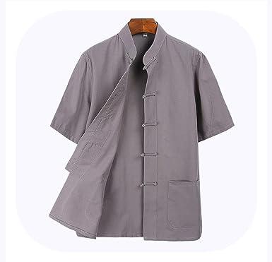 Camiseta de Manga Corta de algodón para Hombre, Uniforme, Kung Fu Tai Chi - Gris - 4X-Large: Amazon.es: Ropa y accesorios