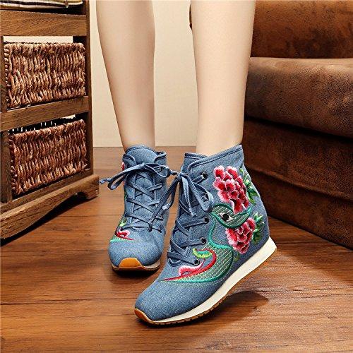 Cotton Blue Women Boots Embroidery increase Sport Warm Internal Ez7qU