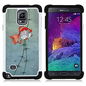 For Samsung Galaxy Note 4 SM-N910 N910 - pond gold underwater fisherman dive Dual Layer caso de Shell HUELGA Impacto pata de cabra con im??genes gr??ficas Steam - Funny Shop -