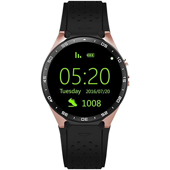 KW88 3G WiFi Smart Watch Cell Phone All-in-One Bluetooth Android SIM Card  with GPS,Camera,Heart Rate Monitor,Google map (Black/Gold)