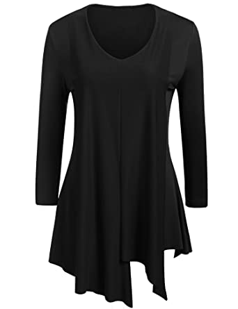 a5ec6c042227b2 Zeagoo Women's Tunic Tops for Leggings - Long Sleeve V Neck Shirt - Regular  and Plus