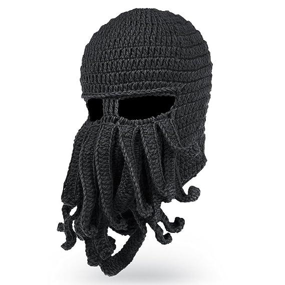Vbiger Beard Hat Beanie Hat Knit Hat Winter Warm Octopus Hat