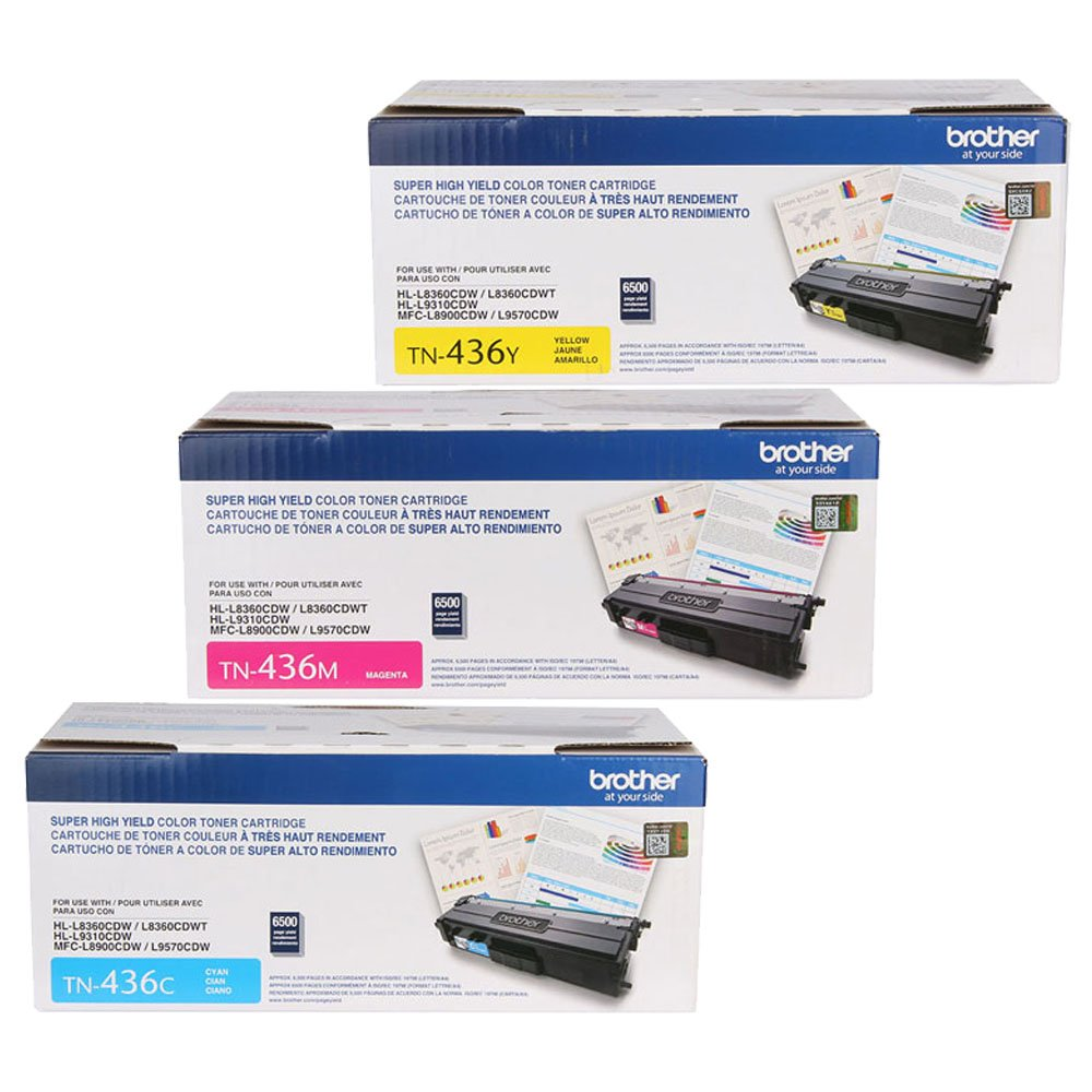 Brother HL-L8360CDW (TN436) Super High Yield Toner Cartridge Set Colors Only (6,500 Yield)