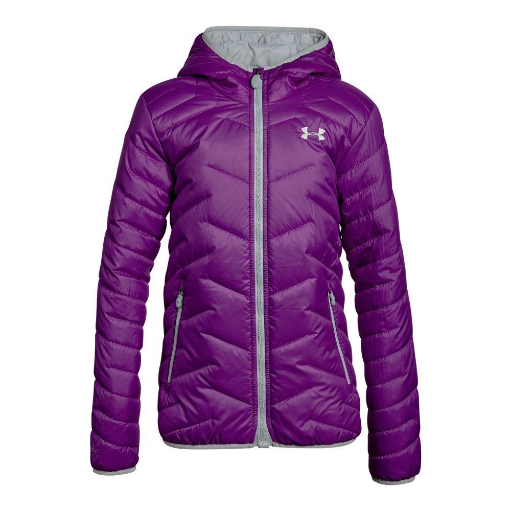 Under Armour Girls' ColdGear Reactor Hooded Jacket, Purple Rave/Overcast Gray, Youth Medium