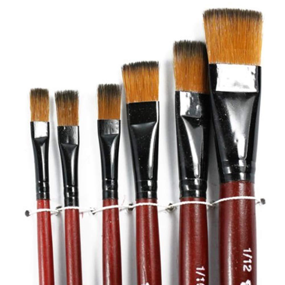 NaiCasy 6 Pezzi Nylon Pittura del Pennello Penna Pennello Disegno Dipinto in Acrilico Acquerello Impostare per i rifornimenti artisti Studenti delle scuole, Gli Strumenti e la Parete di Elaborazione